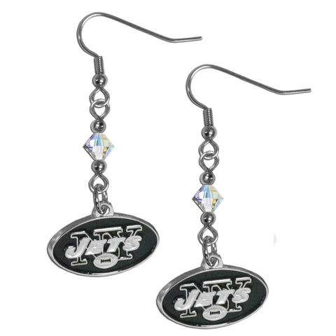 New York Jets Crystal Dangle Earrings