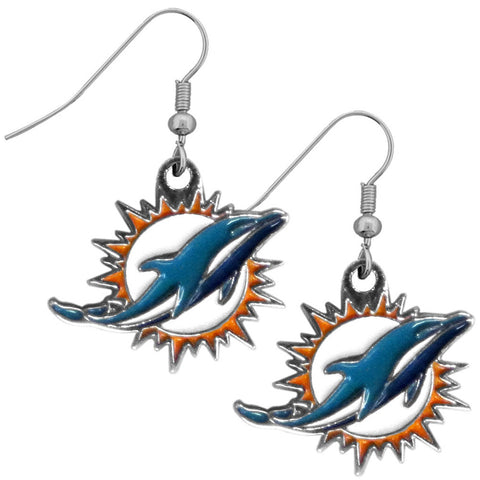 Miami Dolphins Chrome Dangle Earrings