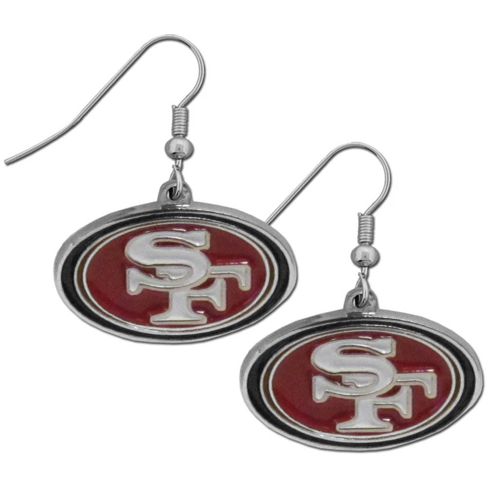 San Francisco 49ers Chrome Dangle Earrings