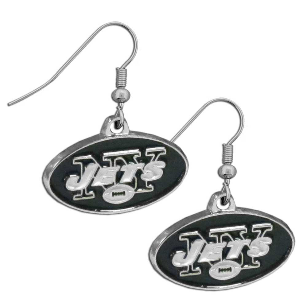 New York Jets Chrome Dangle Earrings - FDE100N