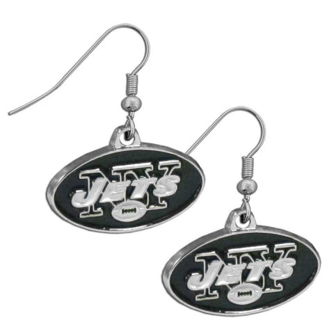 New York Jets Chrome Dangle Earrings