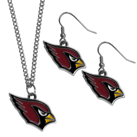 Arizona Cardinals Dangle Earrings and Chain Necklace Set-1
