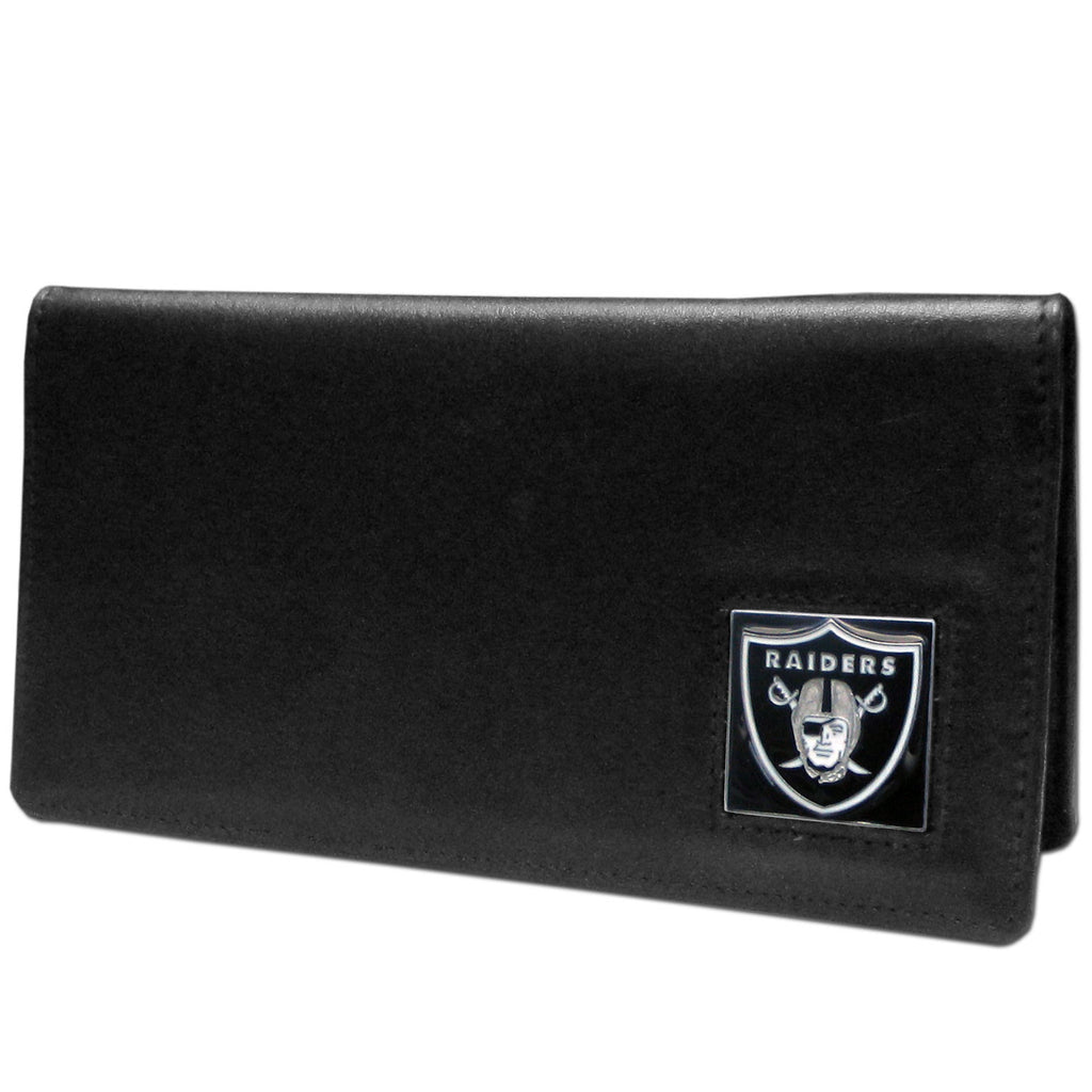 Oakland Raiders Leather Checkbook Cover