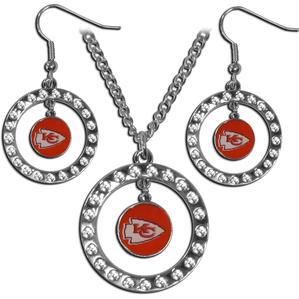 Kansas City Chiefs Rhinestone Hoop Jewelry Set