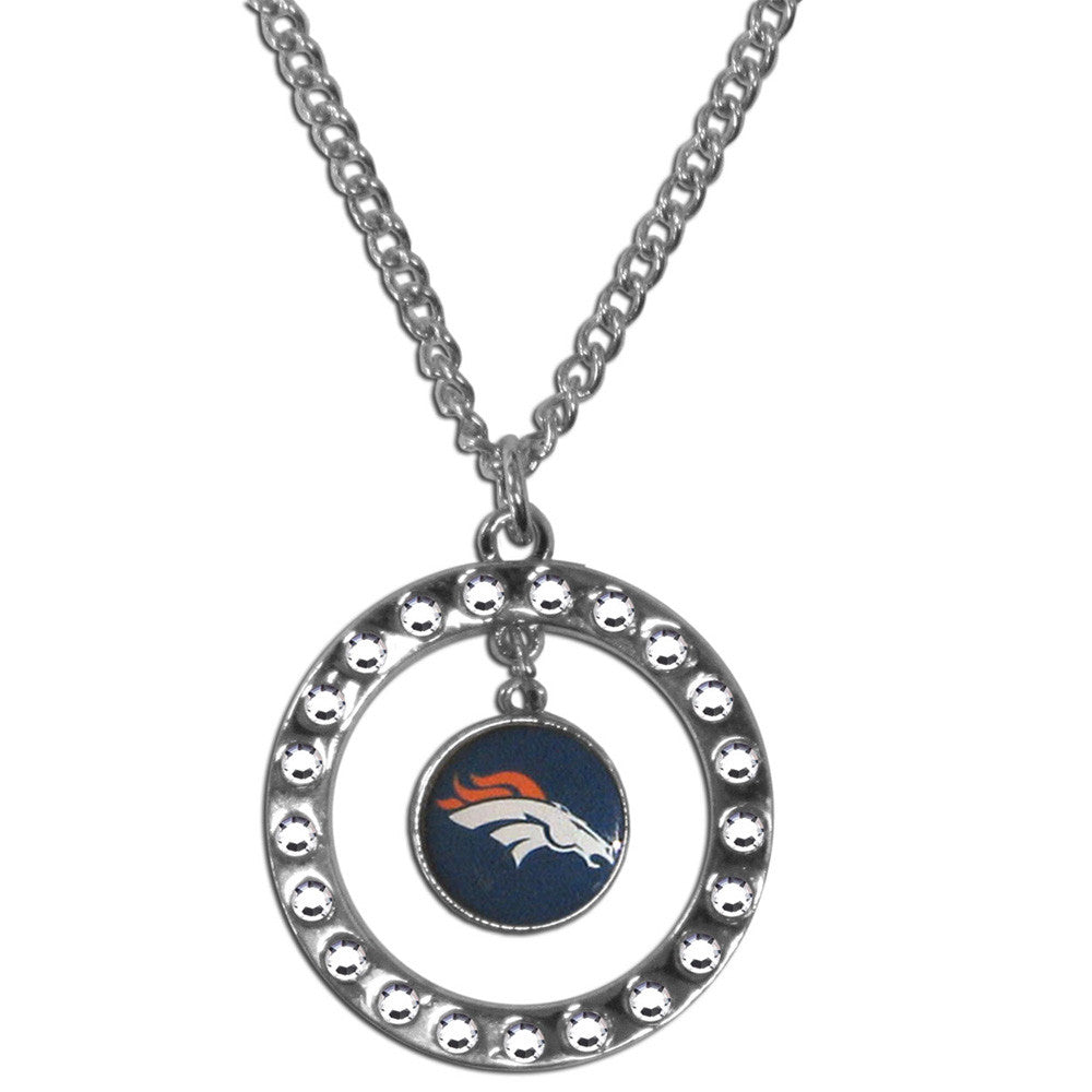Denver Broncos Rhinestone Hoop Necklace