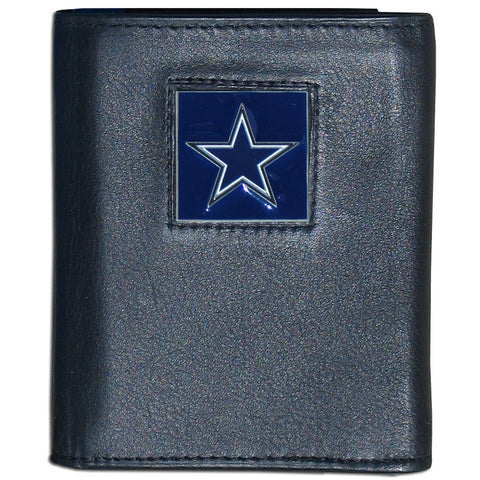 Dallas Cowboys Deluxe Leather Tri-fold Wallet Packaged in Gift Box