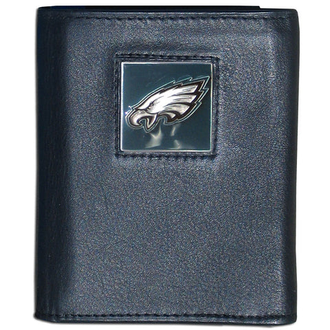 Philadelphia Eagles Deluxe Leather Tri-fold Wallet Packaged in Gift Box