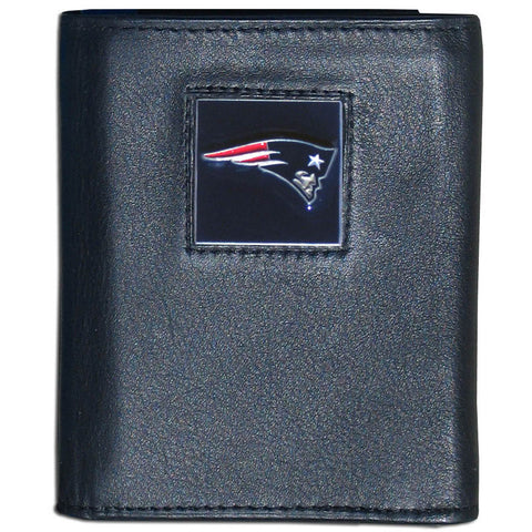 New England Patriots Deluxe Leather Tri-fold Wallet Packaged in Gift Box