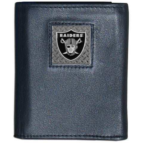 Oakland Raiders Gridiron Leather Tri-fold Wallet Packaged in Gift Box