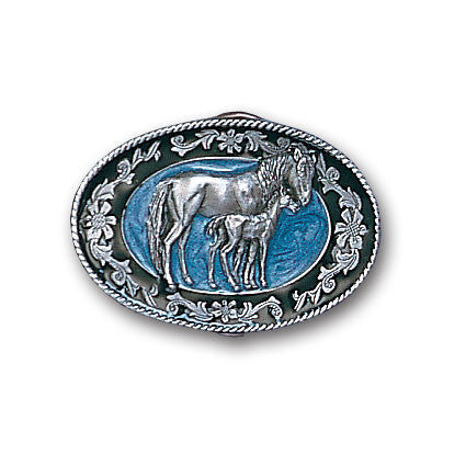 Mare with Colt Enameled Belt Buckle