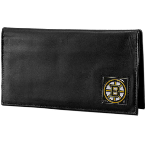 Boston Bruins® Deluxe Leather Checkbook Cover