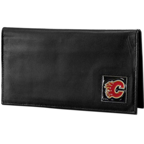 Calgary Flames® Deluxe Leather Checkbook Cover