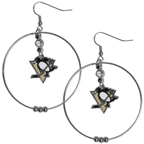 Pittsburgh Penguins® 2 Inch Hoop Earrings