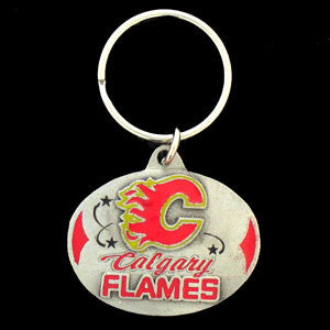 Calgary Flames® Carved Metal Key Chain