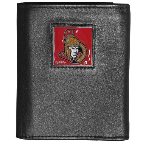 Ottawa Senators® Deluxe Leather Tri-fold Wallet Packaged in Gift Box