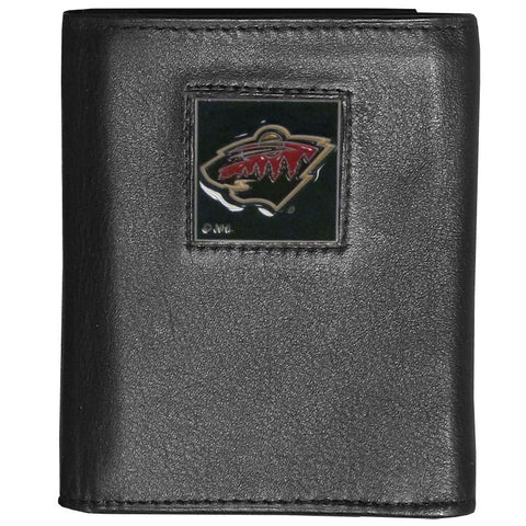 Minnesota Wild® Deluxe Leather Tri-fold Wallet Packaged in Gift Box