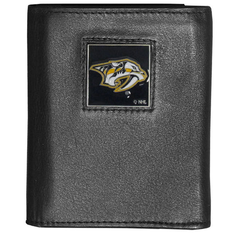 Nashville Predators® Deluxe Leather Tri-fold Wallet Packaged in Gift Box