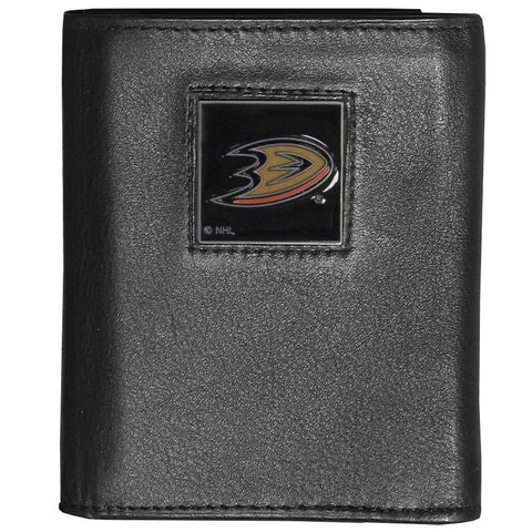Anaheim Ducks® Deluxe Leather Tri-fold Wallet Packaged in Gift Box