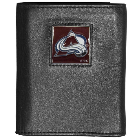 Colorado Avalanche® Deluxe Leather Tri-fold Wallet Packaged in Gift Box
