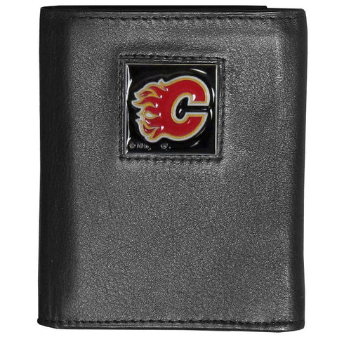 Calgary Flames® Deluxe Leather Tri-fold Wallet Packaged in Gift Box