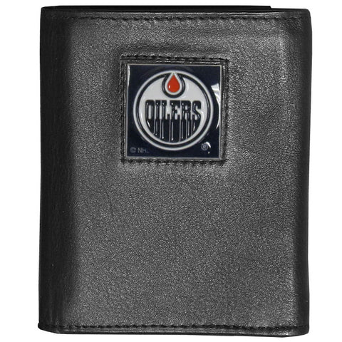 Edmonton Oilers® Deluxe Leather Tri-fold Wallet Packaged in Gift Box