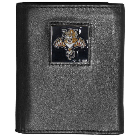 Florida Panthers® Deluxe Leather Tri-fold Wallet Packaged in Gift Box
