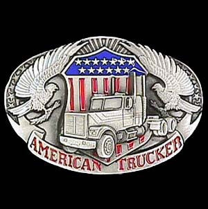 American Trucker Enameled Belt Buckle