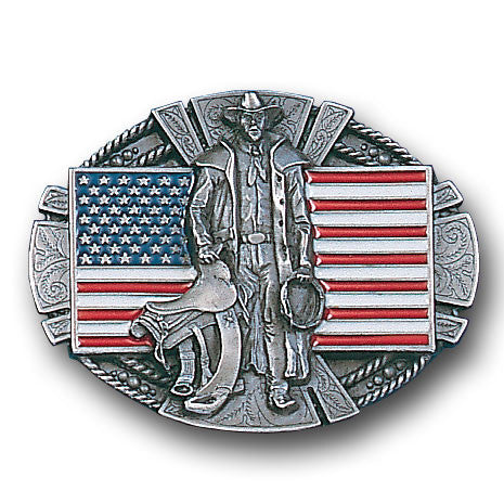 American Cowboy & Flag  Enameled Belt Buckle