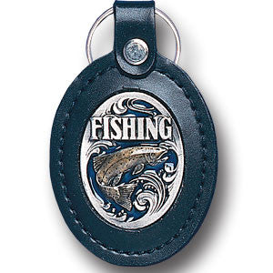 Leather Keychain - Fishing