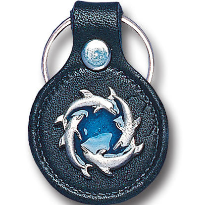 Leather Keychain - Circle of Dolphins