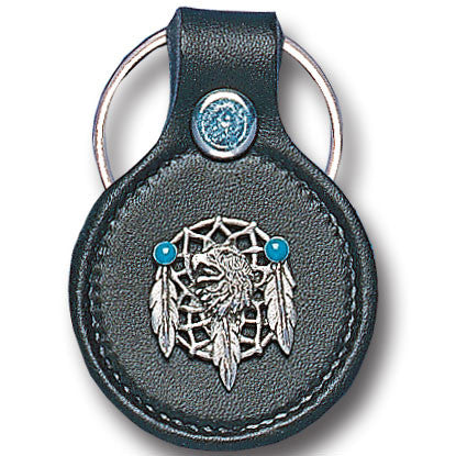 Leather Keychain - Eagle & Dream Catcher