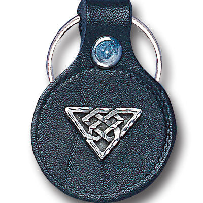 Leather Keychain - Celtic Triangle