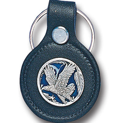 Leather Keychain - Eagle in Circle