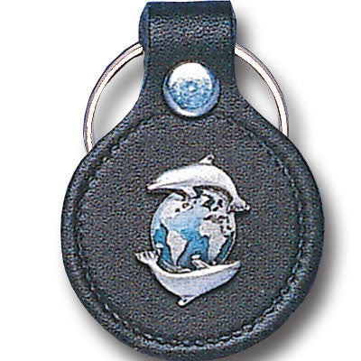 Leather Keychain - Dolphins & Earth
