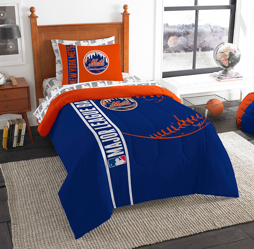 New York Mets MLB Twin Comforter Bed in a Bag (Soft & Cozy) (64in x 86in)