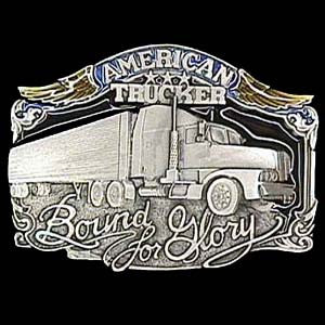 American Trucker  Enameled Belt Buckle - P85E