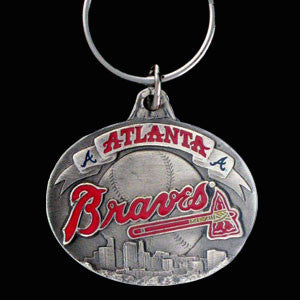Atlanta Braves Oval Carved Metal Key Chain