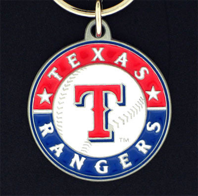 Texas Rangers Carved Metal Key Chain