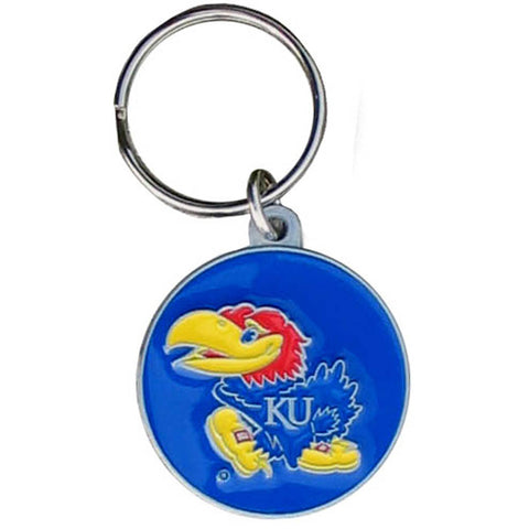 Kansas Jayhawks Carved Metal Key Chain
