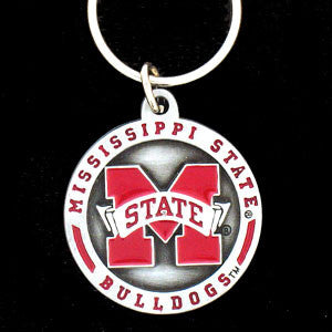 Mississippi St. Bulldogs Carved Metal Key Chain