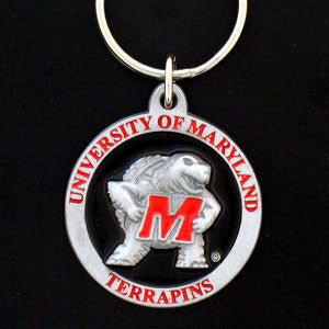 Maryland Terrapins Carved Metal Key Chain