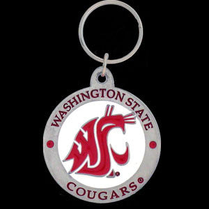 Washington St. Cougars Carved Metal Key Chain