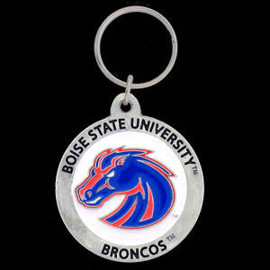Boise St. Broncos Carved Metal Key Chain