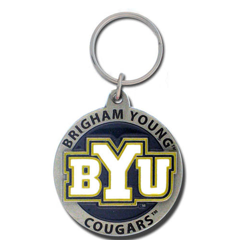 BYU Cougars Carved Metal Key Chain