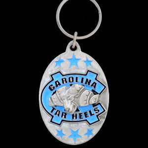 N. Carolina Tar Heels Carved Metal Key Chain