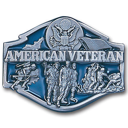 American Veteran Enameled Belt Buckle