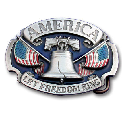 America Let Freedom Ring Enameled Belt Buckle