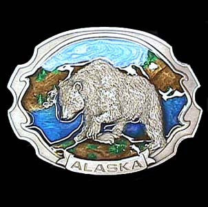 Alaska Grizzly Enameled Belt Buckle
