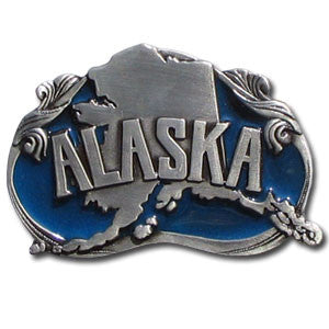 Alaska State Enameled Belt Buckle