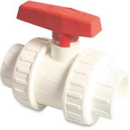 Swimming Pool Double Union Ball Valve 1.5 inch White PVC - H2oFun.co.uk